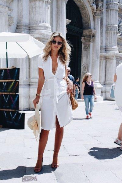 vit knälång skjortklänning med slipsband