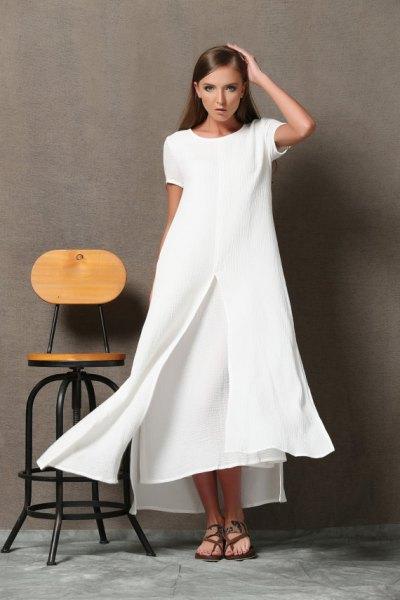 vit, två lager, utsvängd maxiklänning