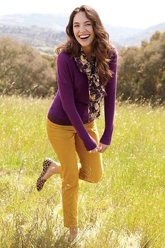 Lila slim fit tröja med senapsbyxor och leopardmönster