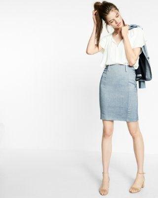 vit topp ljusblå penna kjol med hög midja