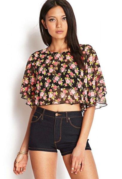 svart chiffong blomma fladdrande ärm crop topp denim shorts