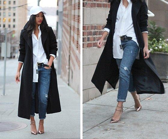 svart ullrock med vit pojkvänskjorta och jeans med raka ben