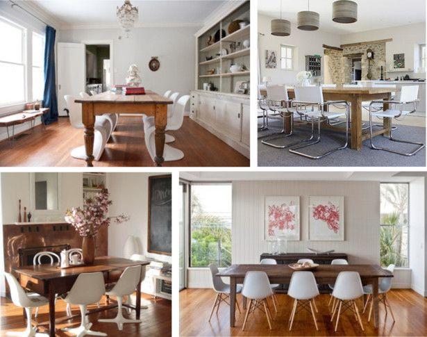 Gammalt bord med moderna stolar    Antika matbord, matsal.