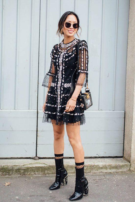 svart mesh klänning med paljetter