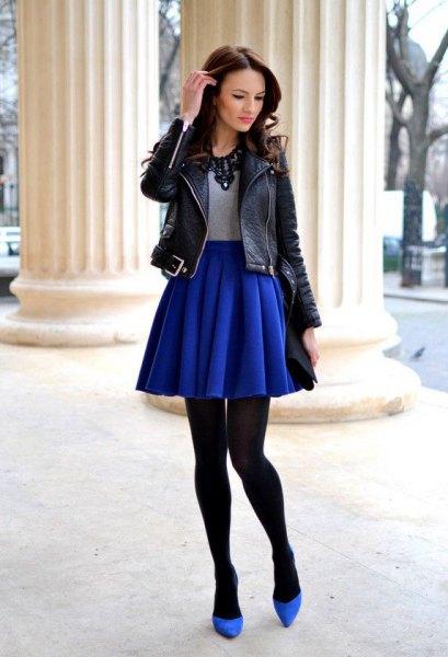 Vinter kungsblå kjol svart skinnjacka