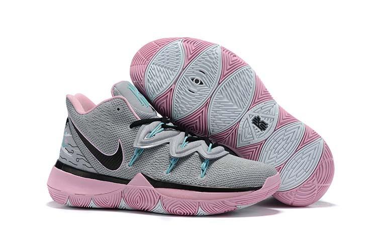 Nike Kyrie 5 Cool grå svart rosa klassiska basketskor för kvinnor.