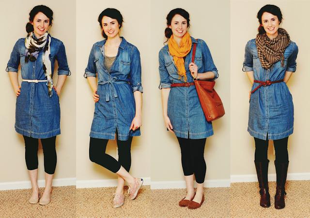 En outfit, fyra årstider - byt tillbehör för att bära en.