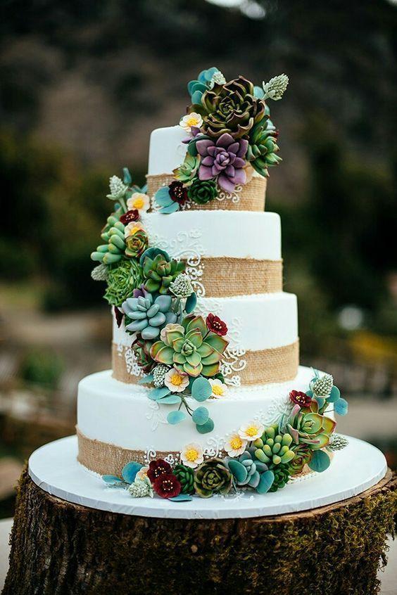 Bästa kaktusbröllopsidéer    Suckulenta bröllopstårtor, blommiga.