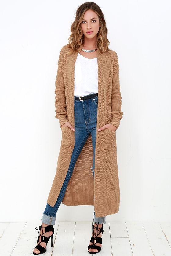 Tan Long Cardigan Sweater Jeans läker