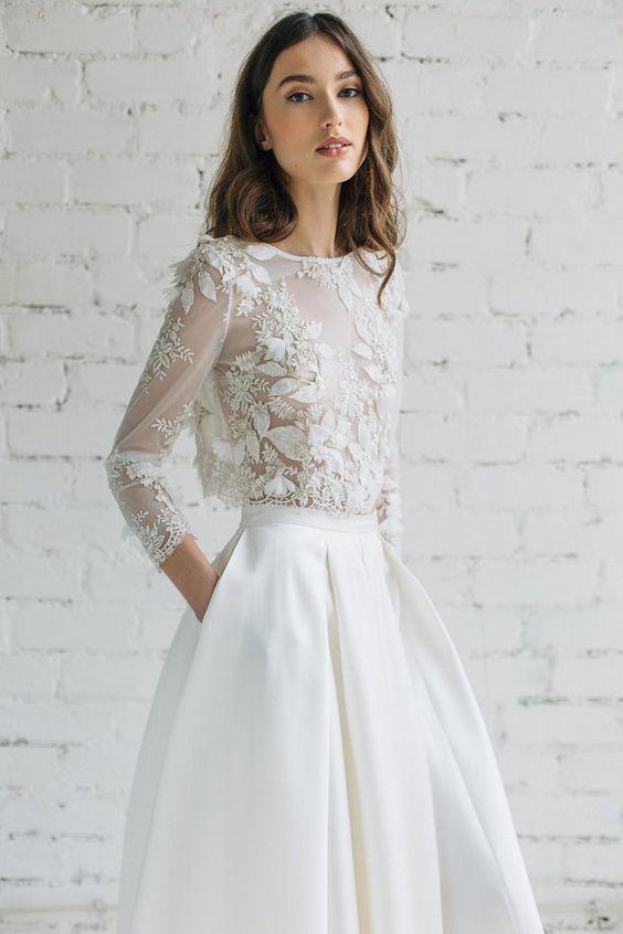 Bästa vita spetsinspirationen |  Spetsbröllop, Brudtoppar, Brud.