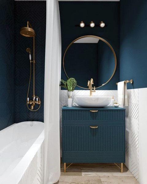 Topp 50 bästa blå badrumsidéer - Inredning i marintema.