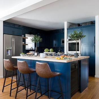 Blå och brun köksdesignide