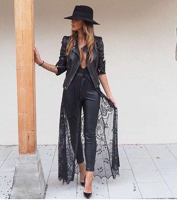 svart spets kimono allt svart allt