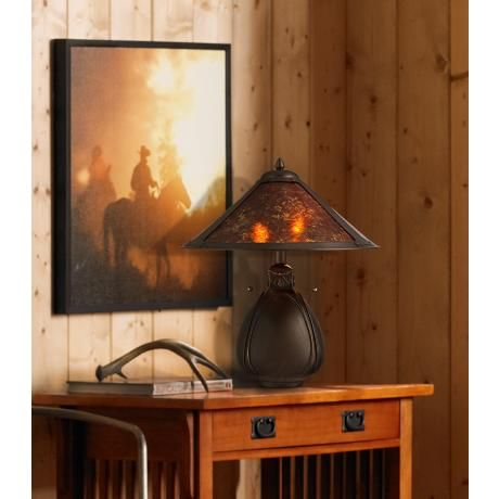 Nell Arts and Crafts Pottery Mica Shade Bordslampa - # Y4626.
