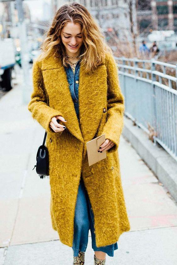 Boucle Coat Senap Jeans