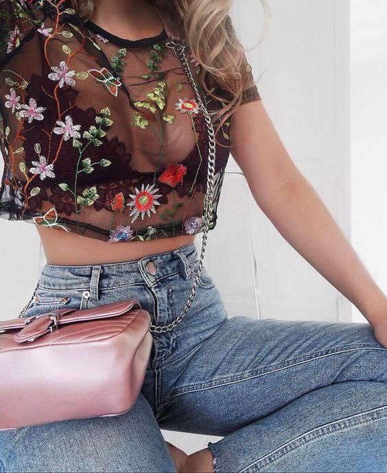 broderade mesh topp jeans med hög midja och mjuk rosa ficka