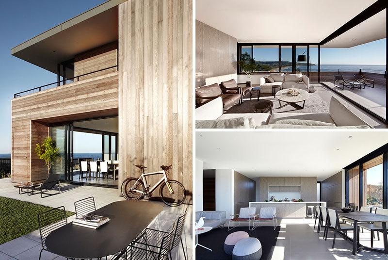 Detta moderna cederträda hus har utsikt över en strand i Austral