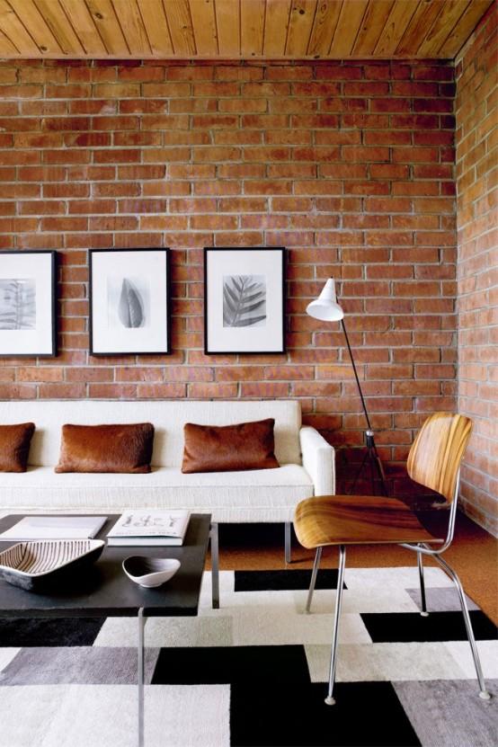 59 svala vardagsrum med Brick Wal