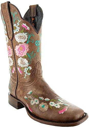 Amazon.com    Soto Boots Dam Jasmine Floral Square Toe Cowgirl.
