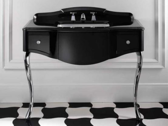 Eleganta möbler för svartvitt badrum av Devon & Devon.