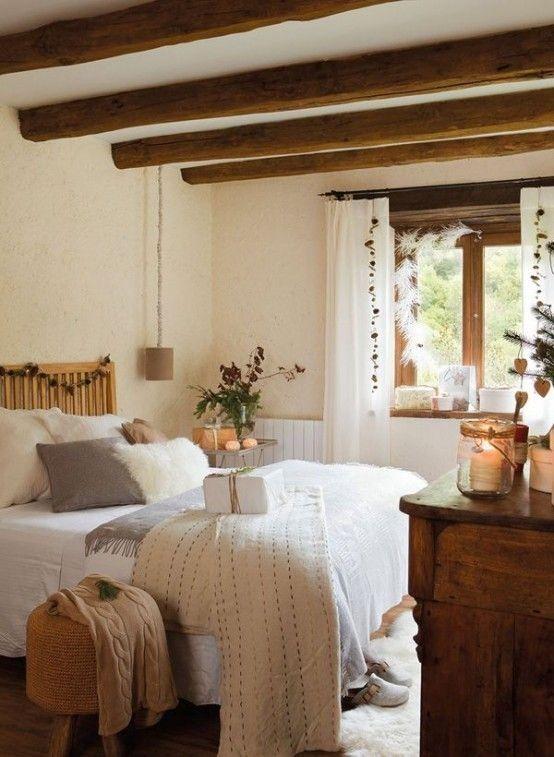 35 eleganta sovrumsdesigner med exponerade träbjälkar |  Bondgård.