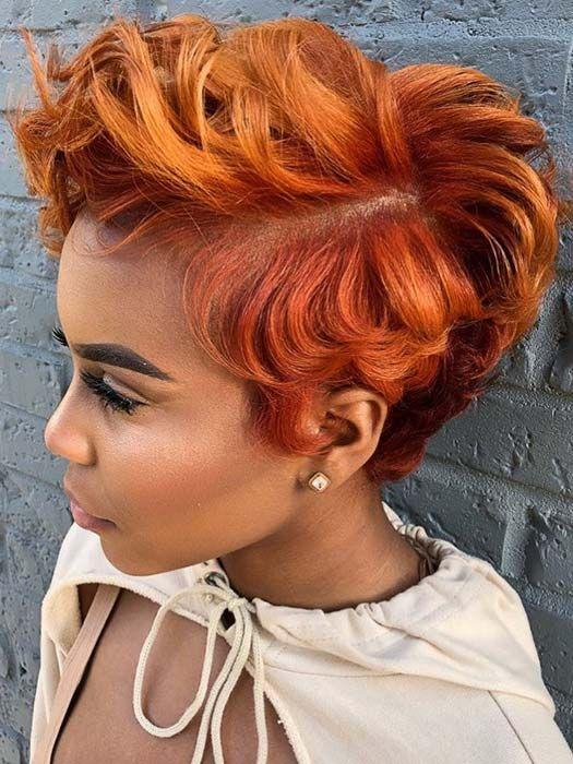 50 korta frisyrer för svarta kvinnor |  StayGlam |  Kort rött hår.