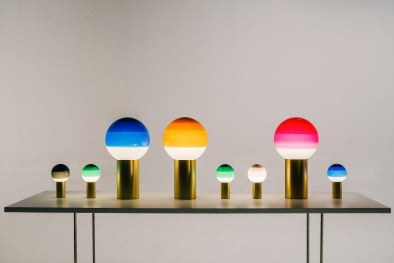 Doppljus med trendig färgblockering  Lampa, mjuk belysning.
