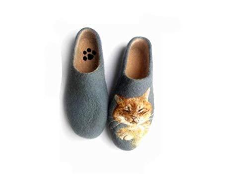 Amazon.com: Specialfiltade tofflor med kattporträtt, ullskor.