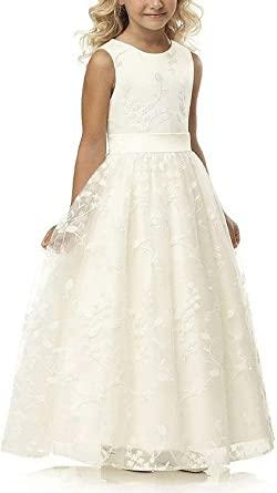 Amazon.com: En linje Wedding Pageant Lace Flower Girl Dress med.