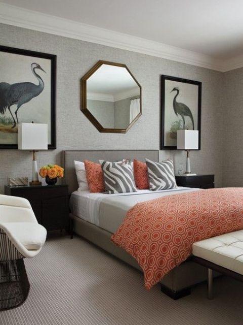 30-Cool-Grå-Och-Korall-Hem-Dekor-Idéer-Med-grå-och-orange-säng.