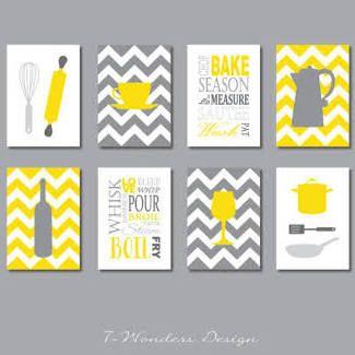 grå och gul köksdekor - Google Sök |  Konsttryck i köket.
