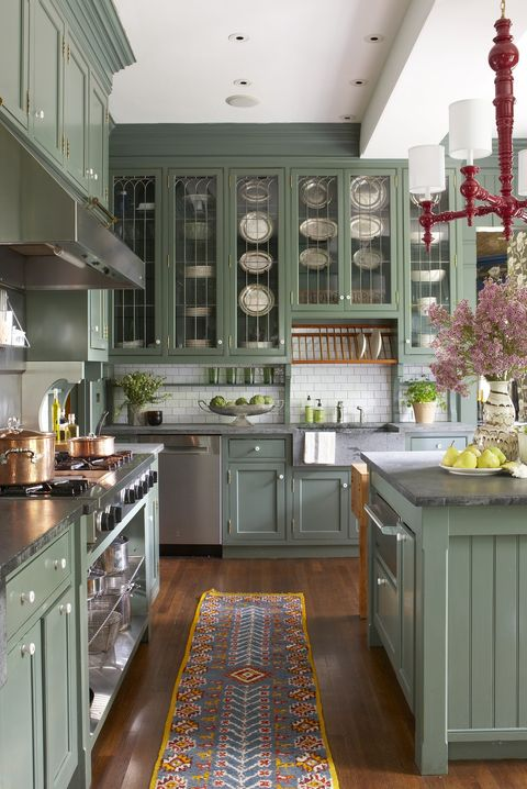 31 Gröna köksdesignidéer - Måla färger för Green Kitche