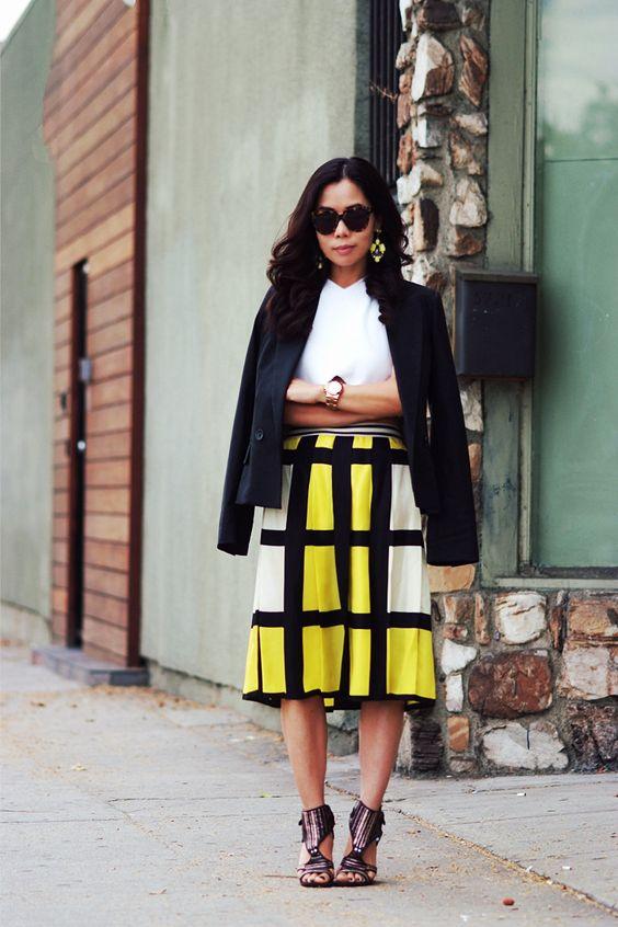 gul rutig kjol modern