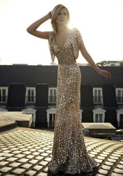 Guldglittrande klänning lång