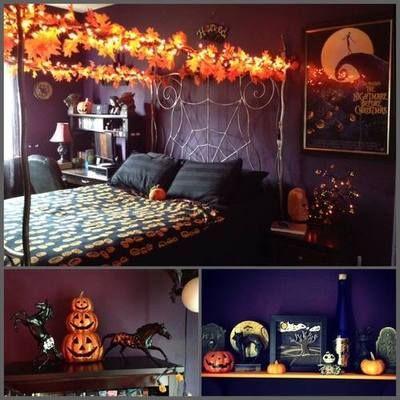 Ett sovrum med Halloween-tema ?????     Halloween rum inredning, Halloween.