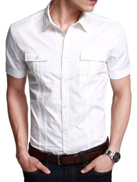 Snygg vit halvärmad casualskjorta |  Stylzzz |  Mens hälften.
