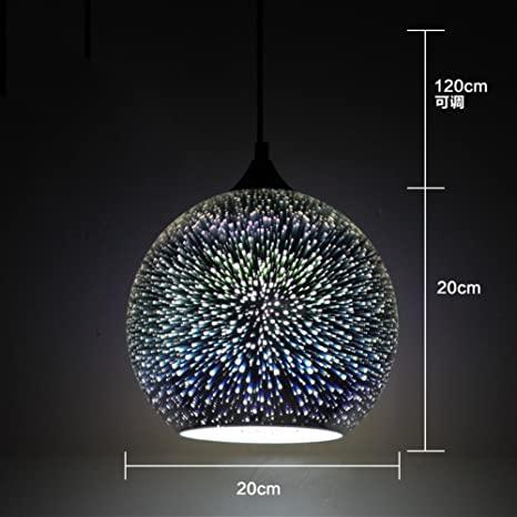 3D-hängande ljuskrona i glas, LED-hängande belysningsarmaturer, stjärnklar.