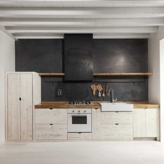 Vacker svartvitt träköksdesign - DigsDi