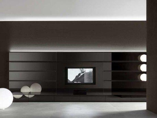 Helt vita och svarta vardagsrumsväggpaneler - Abacus Living.