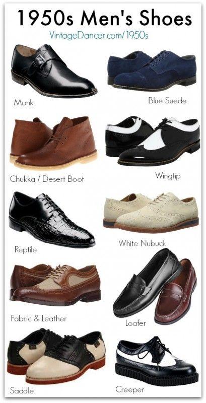 Vintage Style 1950s herrskor |  Rockabilly stövlar och skor |  1950-talet.