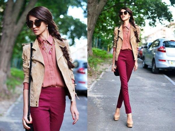 Crepe mocka blazer burgundy jeans
