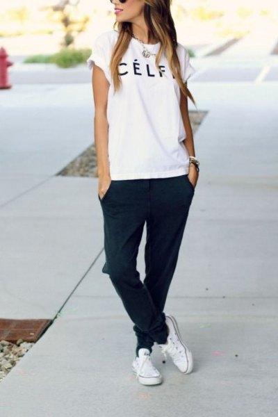 vit canvas canvas t-shirt svart jogger