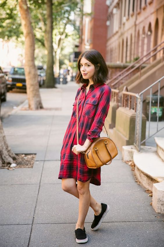Flanellklänning röd för vardagen