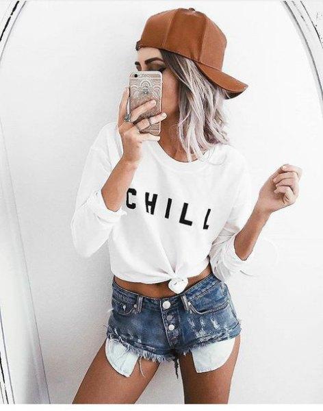 vit knuten långärmad T-shirt med hög midja nödställda shorts