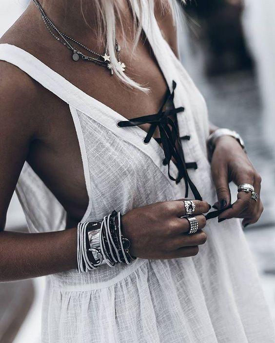 Slips bröstklänning casual svart vit