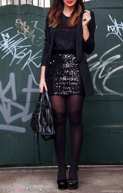 Paljett kjol helt svart