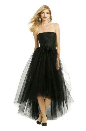 svart axelbandslös maxi hög låg tyll klänning