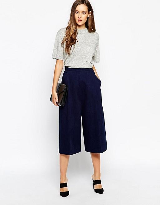 Mörkblå, korta byxor med vida ben