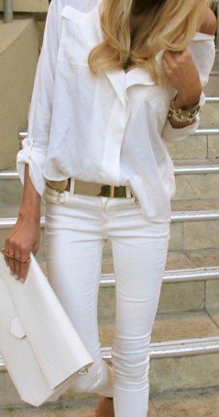 vit knapp-upp skjorta jeans handväska