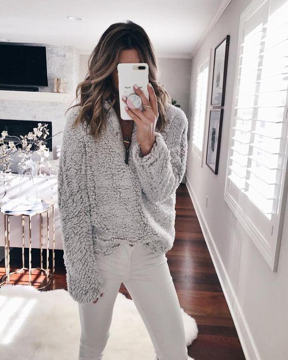 Fleece tröja grå